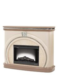 Overture Glamour Cristal Beige Electric Fireplace With Crystal Accents Brown