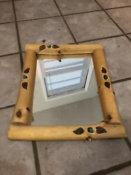 "Nice Log Mirror With Inlaid Accents-Cabin Decor -She-Shed-Loft-Approx 18"" By 15"""