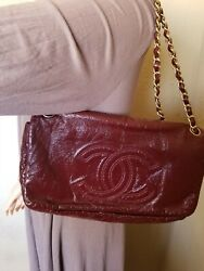 Chanel Rock and Chain Flap Bag Patent Vinyl Large in excellent condition