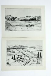 1939 Andrew Butler Lithographs Set of 2 Signed in Plates American Artist Prints