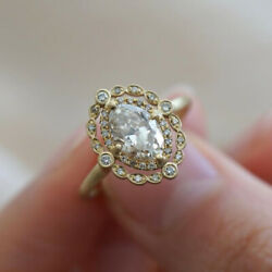 Vintage 18k Yellow Gold Plated Rings for Women Oval Cut White Sapphire Size6-10