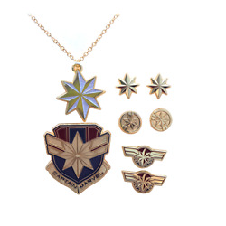 Marvel Captain Marvel Necklace Pin and Earring Set Saleson *Free Shipping*