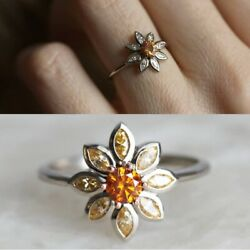 Flower 925 Silver Women Wedding Rings Jewelry Round Cut Citrine Ring Size 6-10