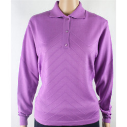 WOMEN'S SWEATER POLO 3 BUTTONS 80%MERINO WOOL MADE IN ITALY WORKED M-XX