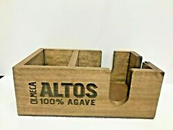 Wooden Bar Caddy Organizer Napkins Straws Dispenser with Olmeca Altos Logo