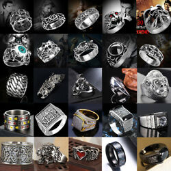 Men's Stainless Steel Silver Gold Rings Gothic Punk Charm Biker Finger Ring Lot