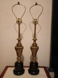 Pair Brass stiffel Lamps 33quot; tall Hollywood Regency lighting table lamps $345.00