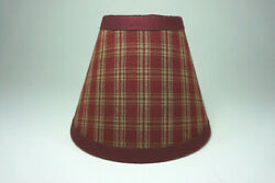 Country Burgundy Sturbridge Plaid Fabric Chandelier Candle Lampshade Lamp Shade $14.99