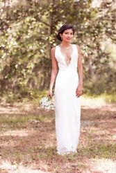 New Silk Wedding Dress plunge neck. Lace  top Plunge Neckline Open Back Size 2