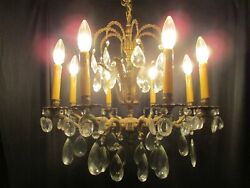 vintage chandelier fabulous brass amp; crystal light fixture elegant french style $750.00