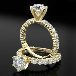 2.7 CT VS1 GENUINE ROUND CUT ACCENTED DIAMOND RING 14K YELLOW GOLD PROMISE RING