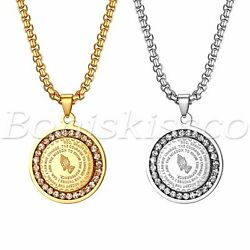 Men#x27;s Stainless Steel Rhinestone Bible Text Prayer Tag Pendant Necklace Chain $15.99