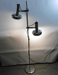 Lamp Light Chrome Steel 2 Spots 70s Space Age Silver