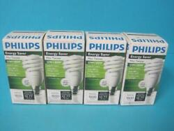 LOT OF 4 NEW PHILIPS LIGHT BULB LAMP COMPACT FLUORESCENT E26 T2 COOL WHITE TWIST