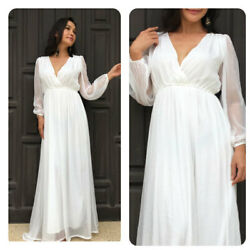White chiffon long sleeve maxi dress all size plus size $69.00