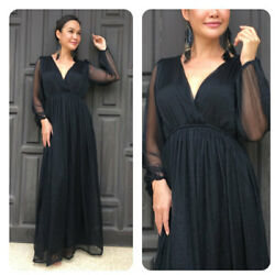 Black chiffon long sleeve maxi dress all size plus size $69.00