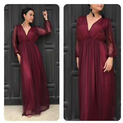 Red burgundy chiffon long sleeve maxi dress all size plus size $69.00