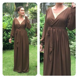 Brown dark chiffon long sleeve maxi dress all size plus size $69.00