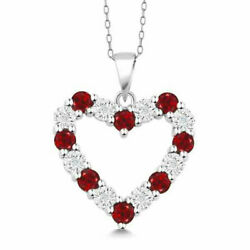 Diamond and Red Garnet 925 Sterling Silver Heart Pendant Necklace on 18