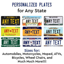 Personalized Custom License Plate Tag for Any State Auto Car Bicycle ATV Bike  $17.99