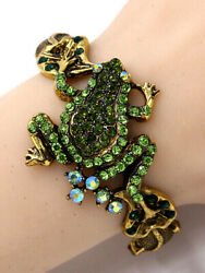 Gorgeous Antique Gold Tone Crystal Frog Hinged Cuff Bangle Bracelet