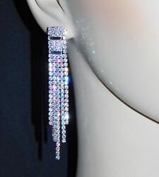 SILVER WITH AB IRIDESCENT RHINESTONE BRIDAL CHANDELIER EARRINGS  5711