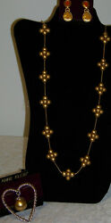 Vintage Anne Klein Signature Necklace -Pin - Earrings Set