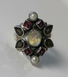 Nicky Butler Designer Sterling SilverMulti Color Gemstone Ring Size 5.75