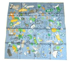 Hermes Scarf Les Confessions Grey Gris Silk 90 cm with Box Carre Shawl Stole NEW