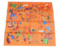 Hermes Scarf Les Confessions Orange Silk 90 cm Scarves Stole with Box Carre NEW