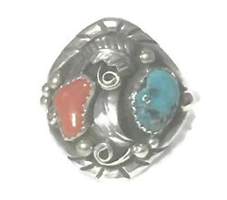 Navajo Turquoise Ring Coral Vintage Sterling Silver Band Size11.50 Men Tribal