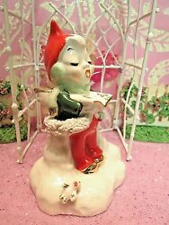 Vtg 1951 Christmas Caroling Angel Pixie Elf BELL W EAR MUFFS Tiny Gold Bird