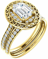 1.02 ct Emerald Cut Diamond Halo Engagement Wedding Ring 14k Yellow Gold SI1