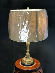 Vintage Oriental Accent Antique Brass Table Lamp With New Gold Lamp Shade $79.20