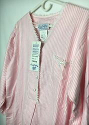 Lanz Of Salzburg Petite Flannel Nightgown NWT Pink White Stripe Made In The USA