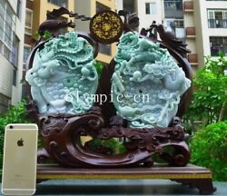 17'' Burma jadeite jade gemstone handwork carved home fengshui Dragon phoenix