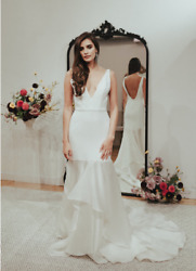 Sarah Seven Hotel Living Collection Sleeveless White Modern Wedding Dress - Size