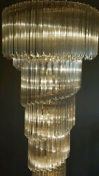 1970's VINTAGE CAMER MURANO GLASS VENINI CHANDELIERS - 172 CRYSTALS