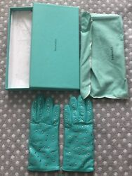 Tiffany & Co. Silver Studded Leather Driving Gloves Blue Cashmere Sz 7 RARE