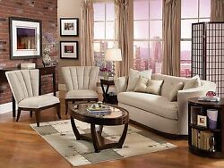 GABLE Modern Art Deco Living Room Couch Set - NEW Tan Chenille Sofa