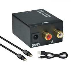 Optical Coaxial Toslink Digital to Analog Audio Converter Adapter RCA L/R 3.5mm $9.99