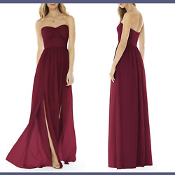 NWT Social Bridesmaid Strapless Georgette Gown Burgundy [SZ 10 ] #M972