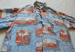 Blue Sail Boats Palm Trees Short Sleeve Beach Shirt - Large Mens Rayon Vtg