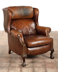 Brandington Young -Vintage Reclining Push Back Chair -Brown Leather