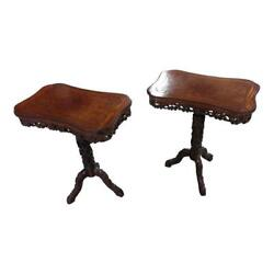 American Aesthetic Movement Highly Carved Side Tables c.1860s -A Pair