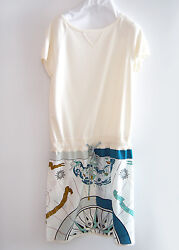 New Hermes Women Cotton Silk Printed Dress white summer 36 S XS Compass