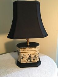 Small Lamp With Vintage Horse Wallpaper by Arden Decor Design New $125.00