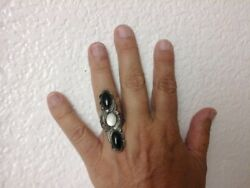 Native  American  onyx mother of pearl size  7 ring