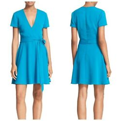 Alice amp; Olivia Adrianna Dress Size 10 Short Sleeve Faux Wrap Mini Teal Blue New