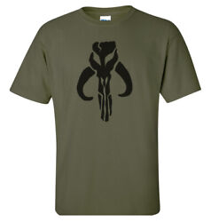 Mandalorian Boba Fett Star Wars T-shirt Black on Military Green